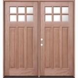 6-Lite Craftsman Mahogany Prehung Double Wood Door Unit #UM43