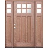 6-Lite Craftsman Mahogany Prehung Wood Door Unit with Sidelites #UM43