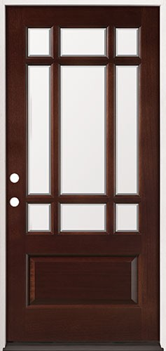 9-Lite Prairie Mahogany Prehung Wood Door Unit #32