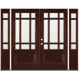 9-Lite Craftsman Mahogany Prehung Wood Double Door Unit with Sidelites #32