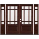 9-Lite Craftsman Mahogany Prehung Wood Double Door Unit with Sidelites #32