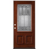 3/4 Lite Mahogany Prehung Wood Door Unit #53