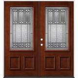 3/4 Lite Mahogany Prehung Double Wood Door Unit #53