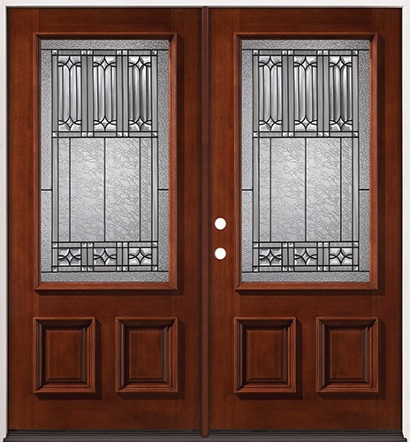 3/4 Lite Mahogany Prehung Double Wood Door Unit #53
