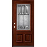 3/4 Lite Mahogany Prehung with Mahogany Jambs Wood Door Unit #53
