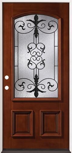 3/4 Arch Mahogany Prehung Wood Door Unit #54