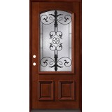 3/4 Arch Mahogany Prehung Wood Door Unit #54