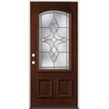 3/4 Arch Mahogany Prehung Wood Door Unit #74