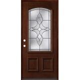 3/4 Arch Mahogany Prehung Wood Door Unit #74