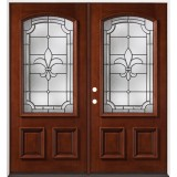 Fleur-De-Lis 3/4 Arch Mahogany Prehung Double Wood Door Unit #49