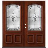 Fleur-De-Lis 3/4 Arch Mahogany Prehung Double Wood Door Unit #49