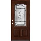 Fleur-De-Lis 3/4 Arch Mahogany Prehung Wood Door Unit #49