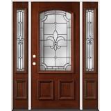 Fleur-De-Lis 3/4 Arch Mahogany Prehung Wood Door Unit with Sidelites #49
