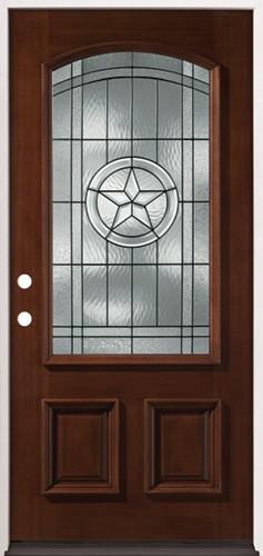 Texas Star 3/4 Arch Mahogany Prehung Wood Door Unit #50