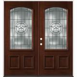 Texas Star 3/4 Arch Mahogany Prehung Double Wood Door Unit #50