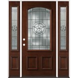 Texas Star 3/4 Arch Mahogany Prehung Wood Door Unit with Sidelites #50