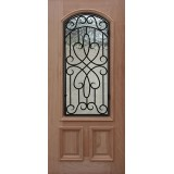 2/3 Arch Grille Mahogany Wood Door Slab #A623FA