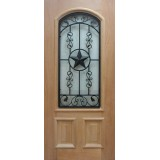 Beau 2/3 Arch Texas Star Grille Mahogany Wood Door Slab #A916FA