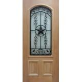 2/3 Arch Texas Star Grille Mahogany Wood Door Slab #A916FA
