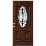 3/4 Oval Mahogany Prehung Wood Door Unit #51