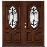 3/4 Oval Mahogany Prehung Double Wood Door Unit #51