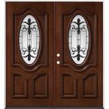 3/4 Oval Mahogany Prehung Double Wood Door Unit #51