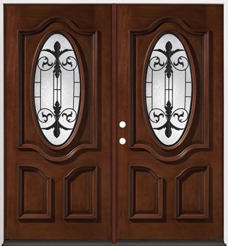 3 4 Oval Mahogany Prehung Double Wood Door Unit 51