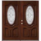 3/4 Oval Mahogany Prehung Double Wood Door Unit #86