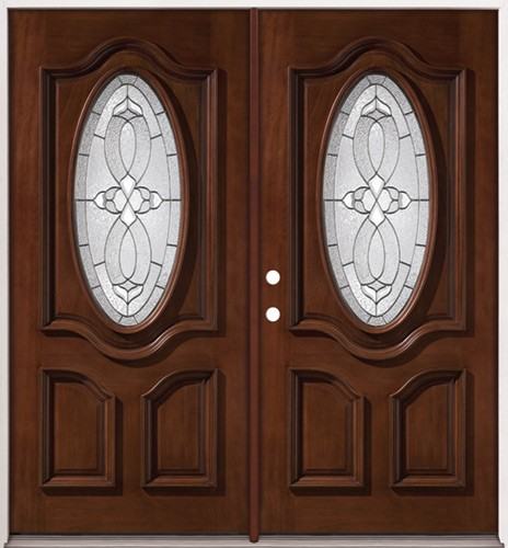 Cheap 3 4 oval mahogany prehung double wood door unit 86 for Double door wooden door