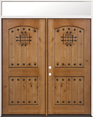 Rustic Knotty Alder Prehung Wood Double Door Unit with Transom #20