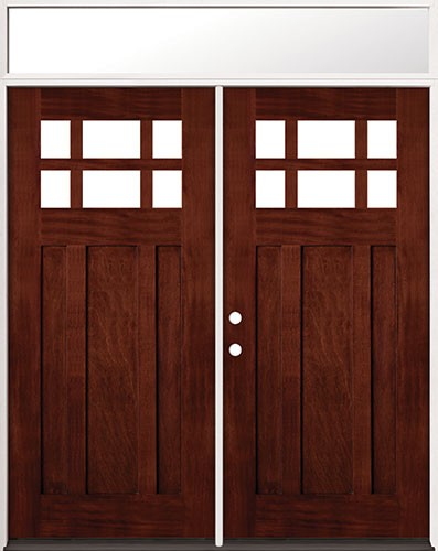 6 Lite Craftsman Mahogany Prehung Wood Double Door