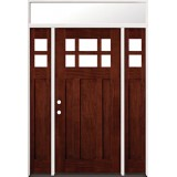 6-Lite Craftsman Mahogany Prehung Wood Door Unit with Transom #43