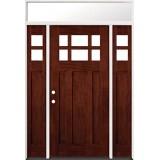 6-Lite Craftsman Mahogany Prehung Wood Door Unit with Transom #43