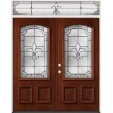 Fleur-De-Lis 3/4 Arch Mahogany Prehung Wood Double Door Unit with Transom #49