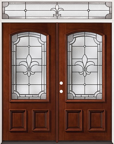 Fleur-De-Lis 3/4 Arch Mahogany Prehung Wood Double Door Unit with Transom #49
