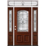 Fleur-De-Lis 3/4 Arch Mahogany Prehung Wood Door Unit with Transom #49