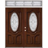 3/4 Oval Mahogany Prehung Wood Double Door Unit with Transom #86