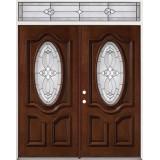 3/4 Oval Mahogany Prehung Wood Double Door Unit with Transom #86