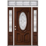 3/4 Oval Mahogany Prehung Wood Door Unit with Transom #86