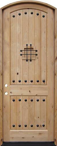 "8'0"" Tall Rustic Knotty Alder Arched Prehung Wood Door Unit #5214"