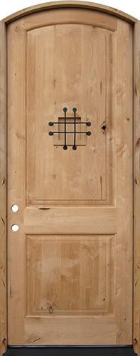 "8'0"" Tall Rustic Knotty Alder Arched Prehung Wood Door Unit #5213"