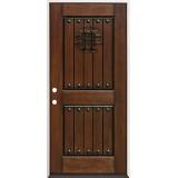 Rustic Mahogany Prehung Wood Door Unit #320