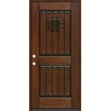 Rustic Mahogany Prehung Wood Door Unit #320