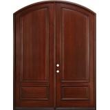 """8'0"""" Tall Mahogany Arch Top Prehung Double Wood Door Unit"""