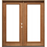 Full Lite Mahogany Patio Prehung Double Door