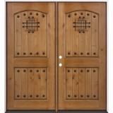Rustic Knotty Alder Prehung Double Wood Door Unit #20