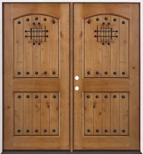 Cheap rustic knotty alder prehung double wood door unit 20 for Knotty alder wood doors