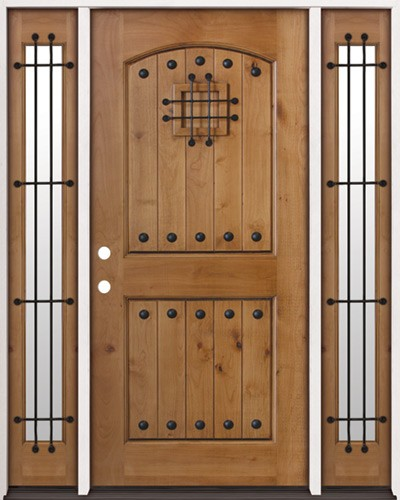 Rustic Knotty Alder Prehung Wood Door Unit with Sidelites #20