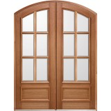 "8'0"" Tall 6-Lite IG Mahogany Arch Top Prehung Double Wood Door Unit"
