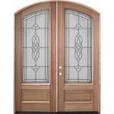 "8'0"" Tall Oxford Mahogany Arch Top Prehung Double Wood Door Unit"